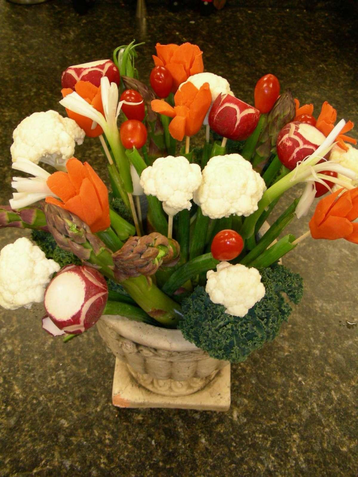 Bouquet con diversi vegetali