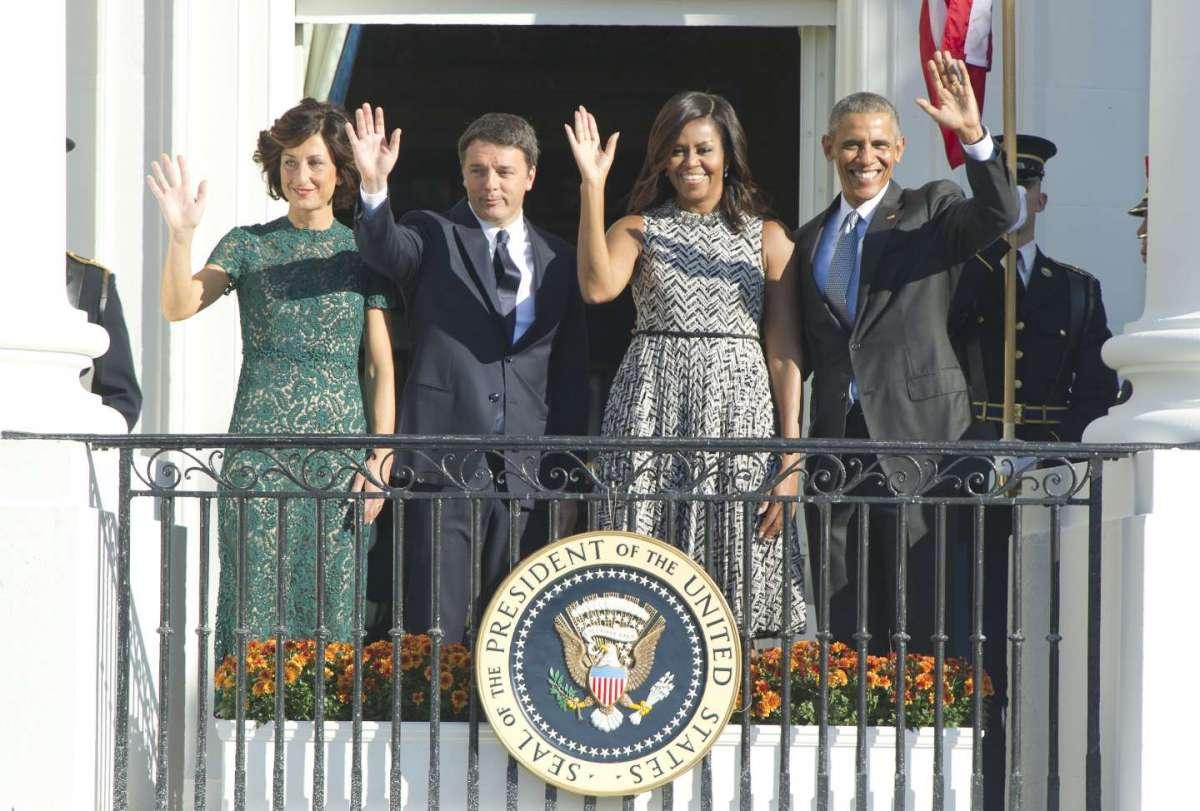 Michelle e Barack Obama con Agnese e Matteo Renzi alla Casa Bianca