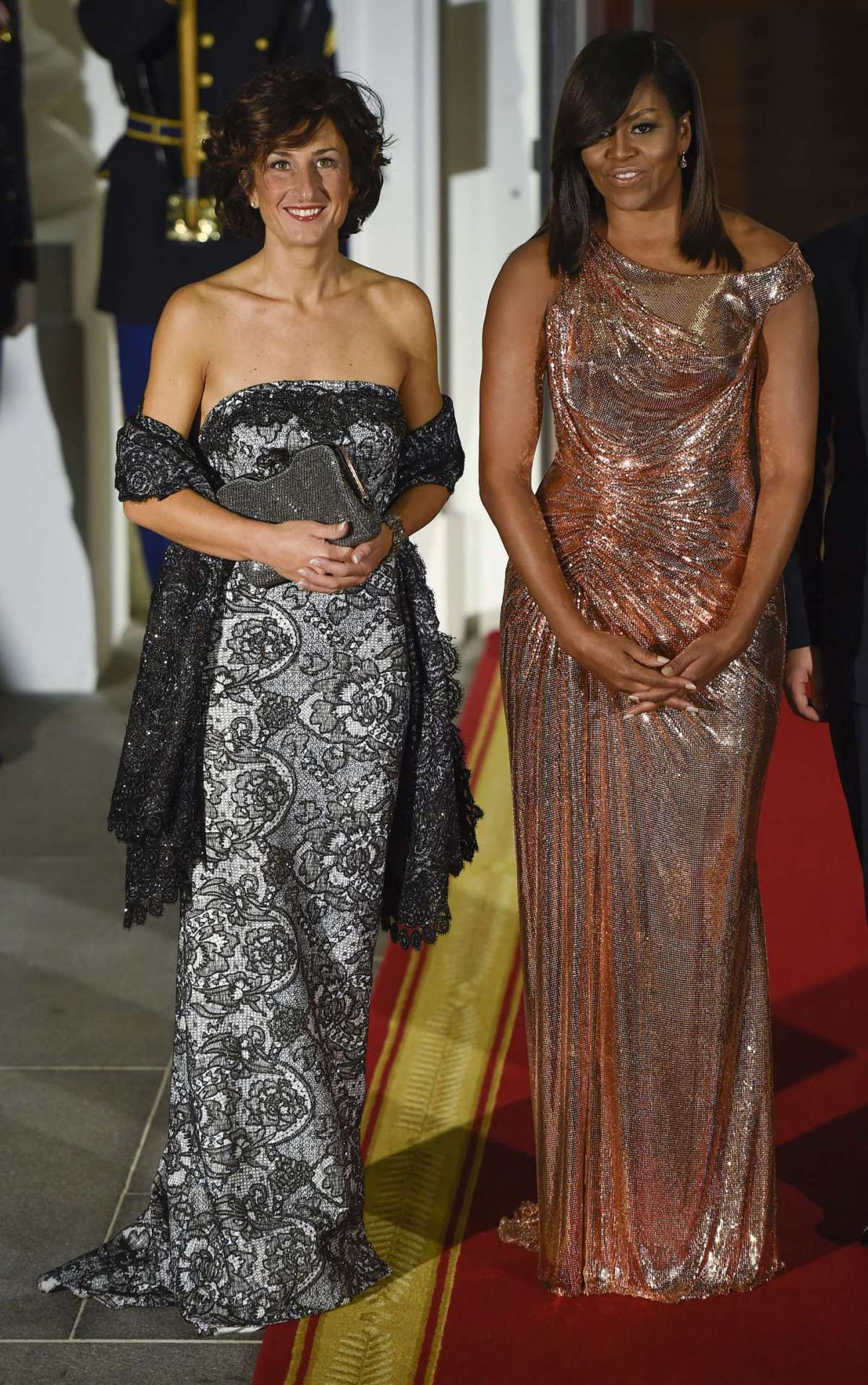 Michelle Obama con Agnese Landini
