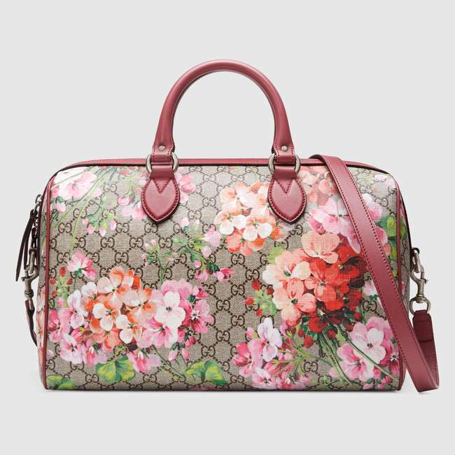 Bauletto Gucci in GG Supreme con stampa Blooms