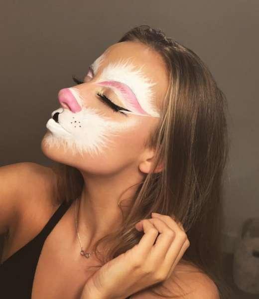 Effetto peluria bianca sul viso per make up da coniglietta