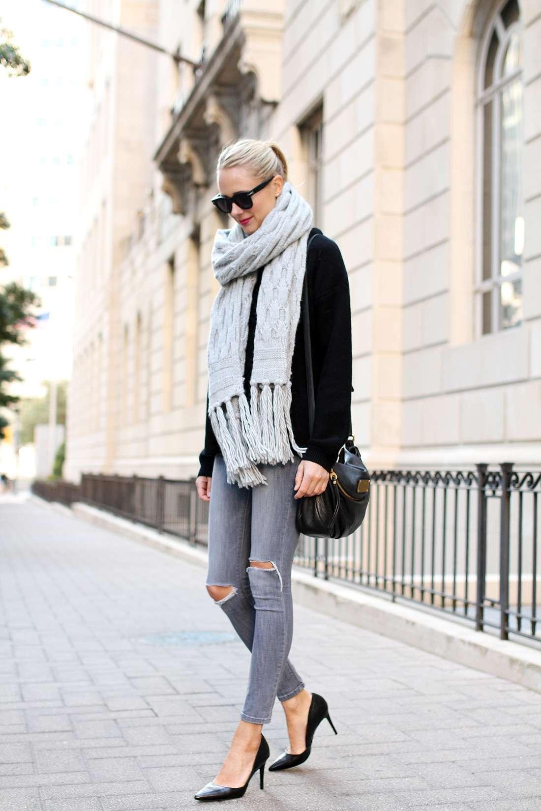 Look con jeans grigi