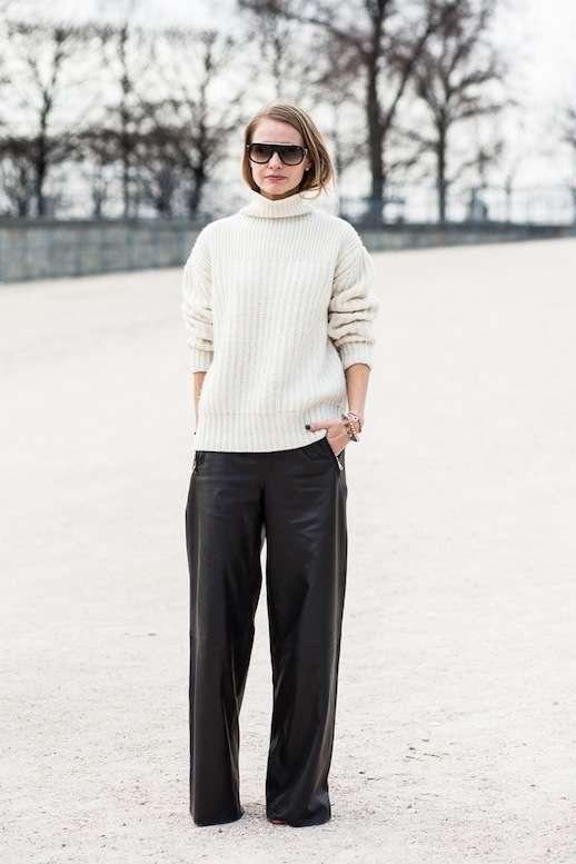 Maglione di lana e pantaloni a palazzo