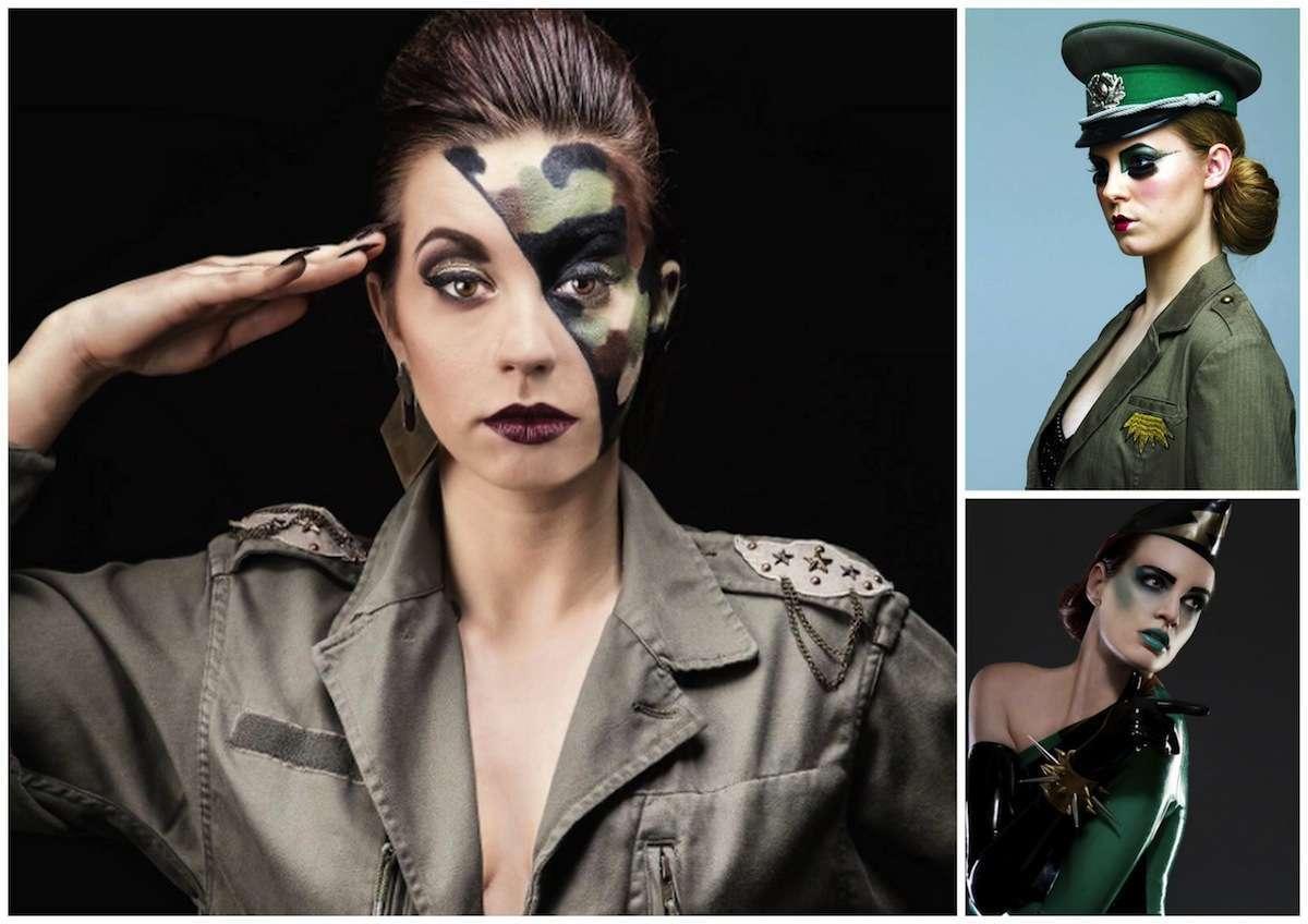 Trucco Carnevale militare per viso e occhi
