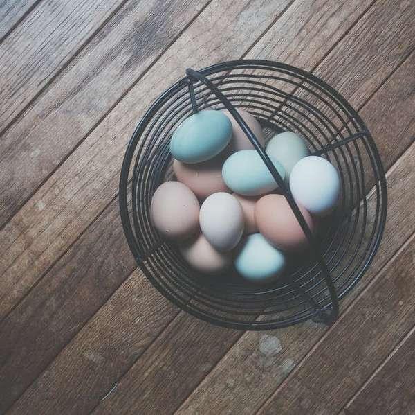 Cestino uova colorate