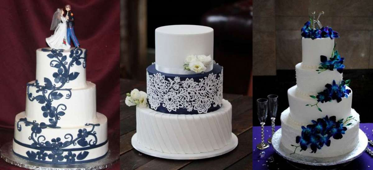 Torte nuziali blu e bianche