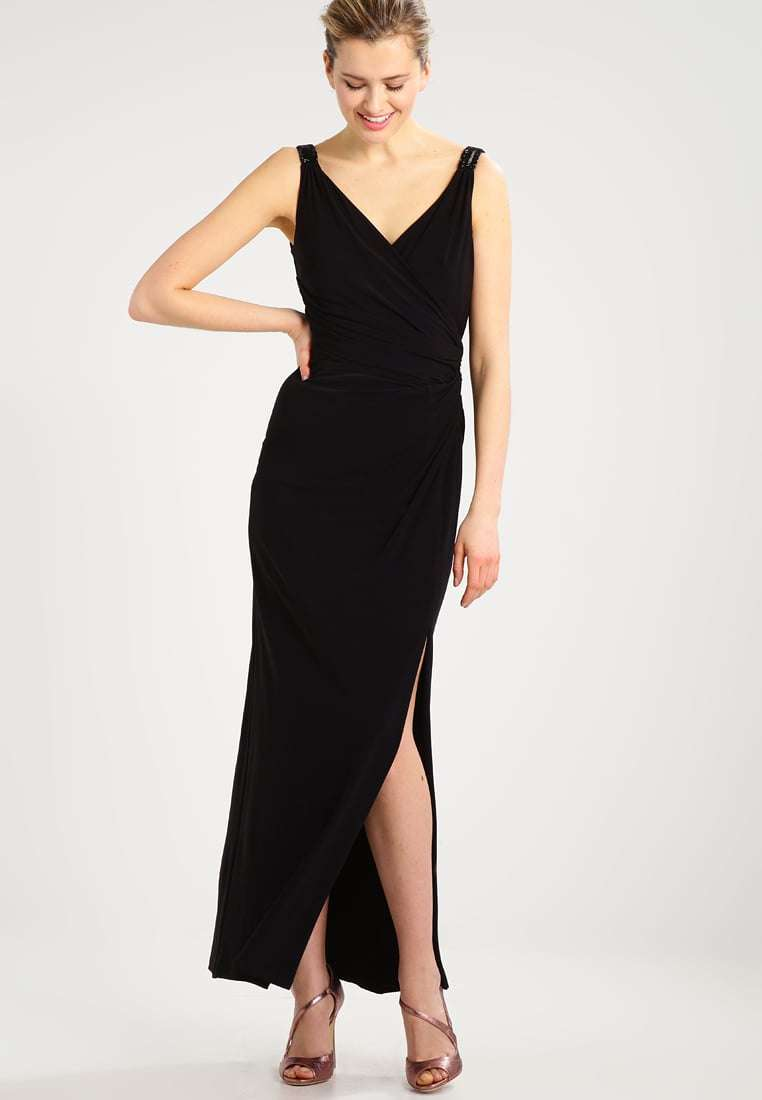 Vestito nero lungo con spacco Lauren Ralph Lauren