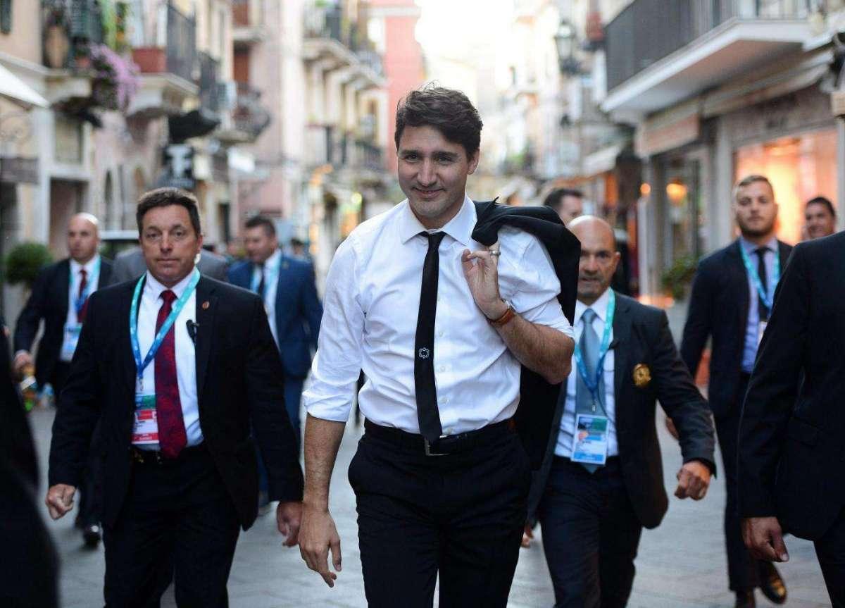 Il premier canadese Trudeau arriva al G7