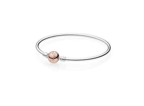 Bracciale con chiusura sferica rosa Pandora