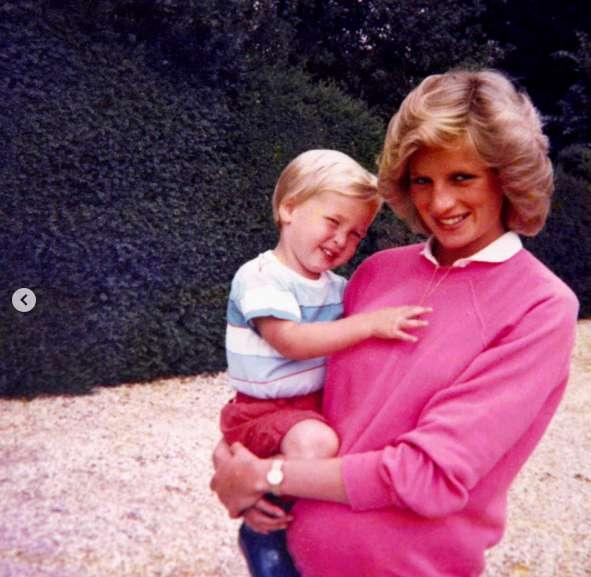Lady D. con William, incinta di Harry