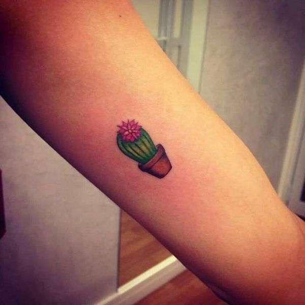 Piccolo tatuaggio con cactus colorato