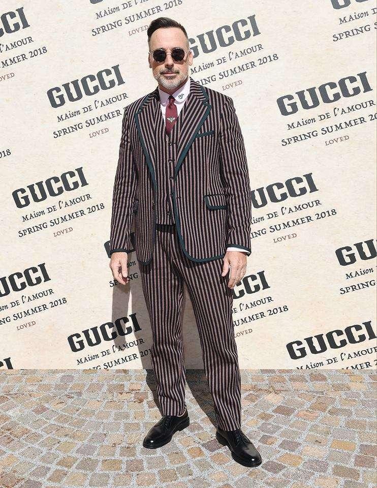 David Furnish, marito di Elton John, alla sfilata Gucci