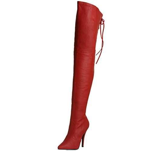 Stivali rossi alla coscia con tacco  Pleaser
