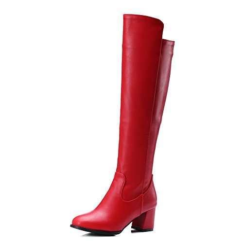 Stivali rossi con tacco basso VogueZone009