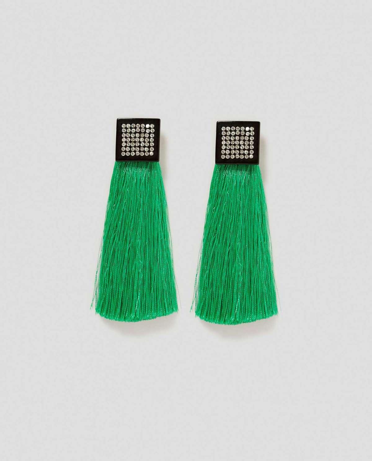 Orecchini con frange verdi