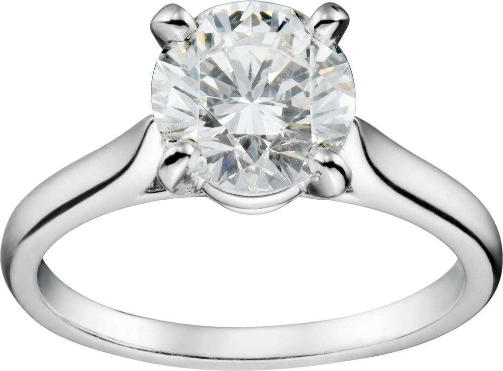Anello solitario Cartier in oro bianco con diamante