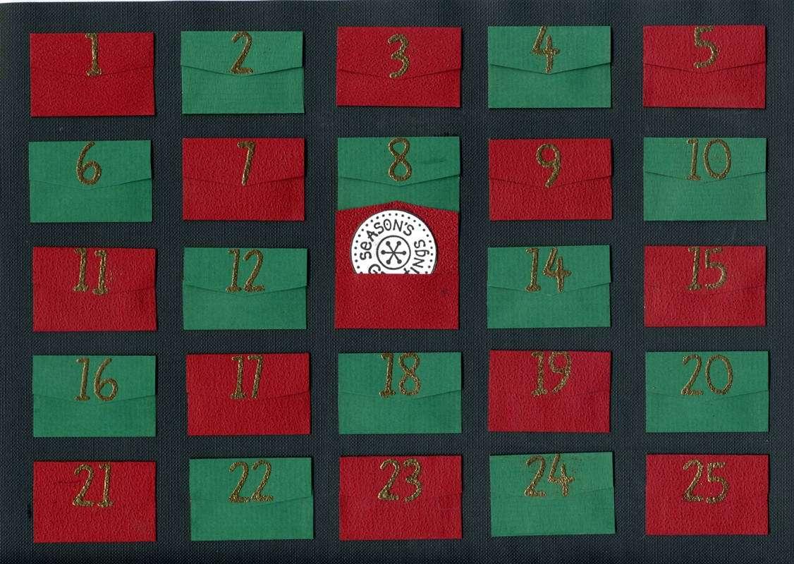 Calendario dell'avvento rosso e verde