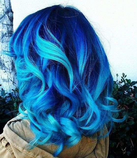 Shatush blu e azzurro