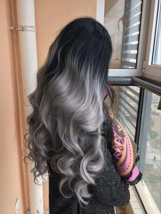 Shatush grigio argento molto sfumato
