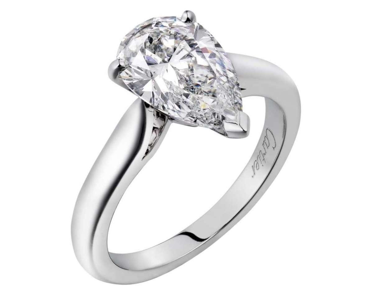 Solitario in platino con diamante Cartier