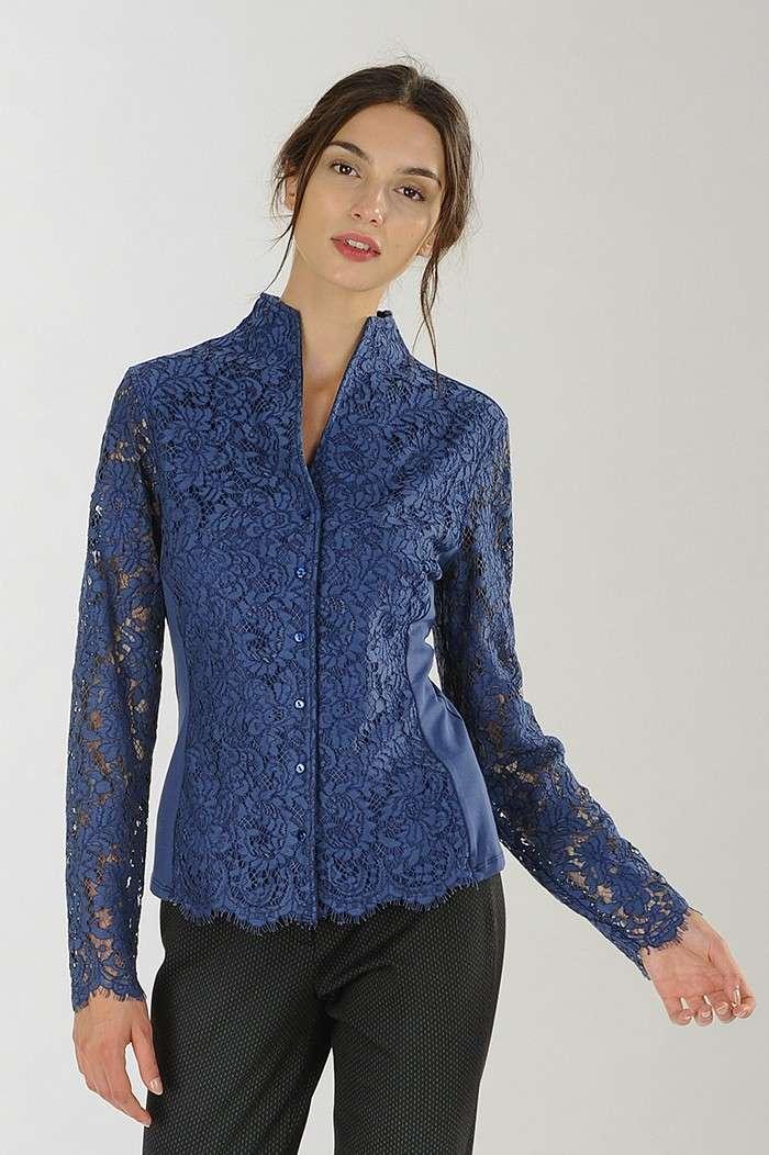 Camicia in pizzo blu Nara Camicie