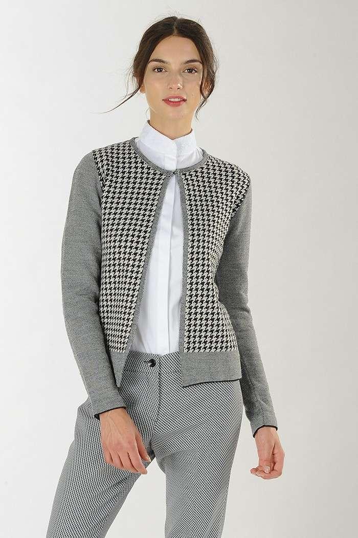 Cardigan con lavorazione jacquard pied-de-poule Nara Camicie