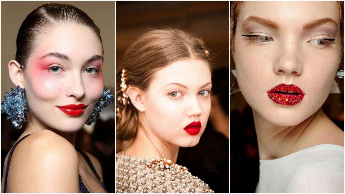 Trucco labbra per Capodanno con rossetto rosso