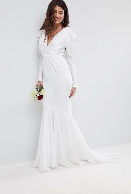 Abito da sposa a maniche lunghe Asos Bridal