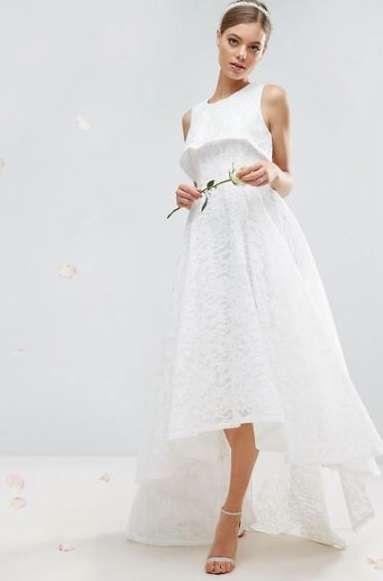 Abito da sposa in pizzo Asos Bridal asimmetrico