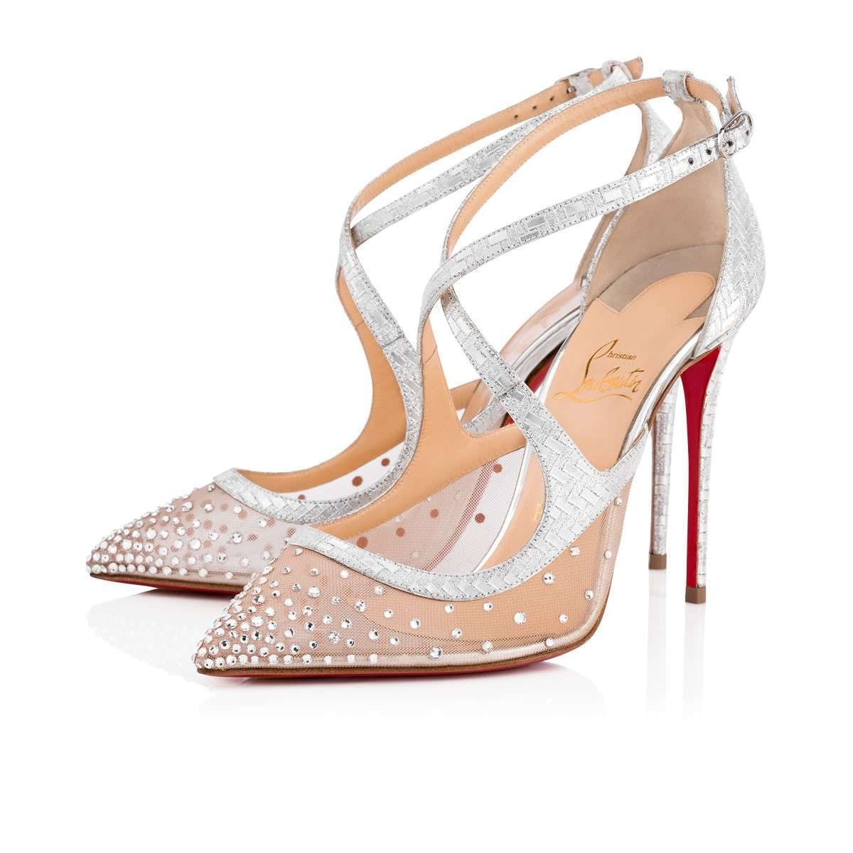 Scarpe da sposa a punta con tacco Christian Louboutin con cristalli