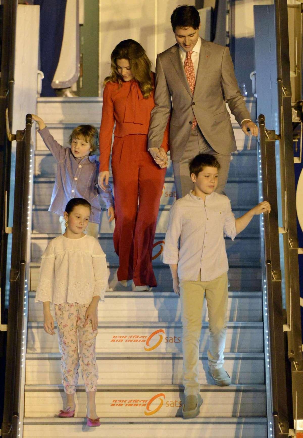 L'arrivo della famiglia Trudeau in India