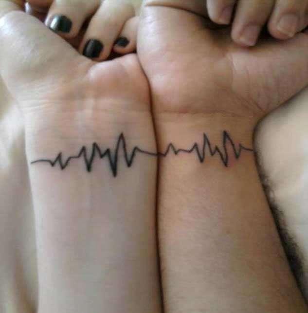 Tatuaggio di coppia battito cardiaco
