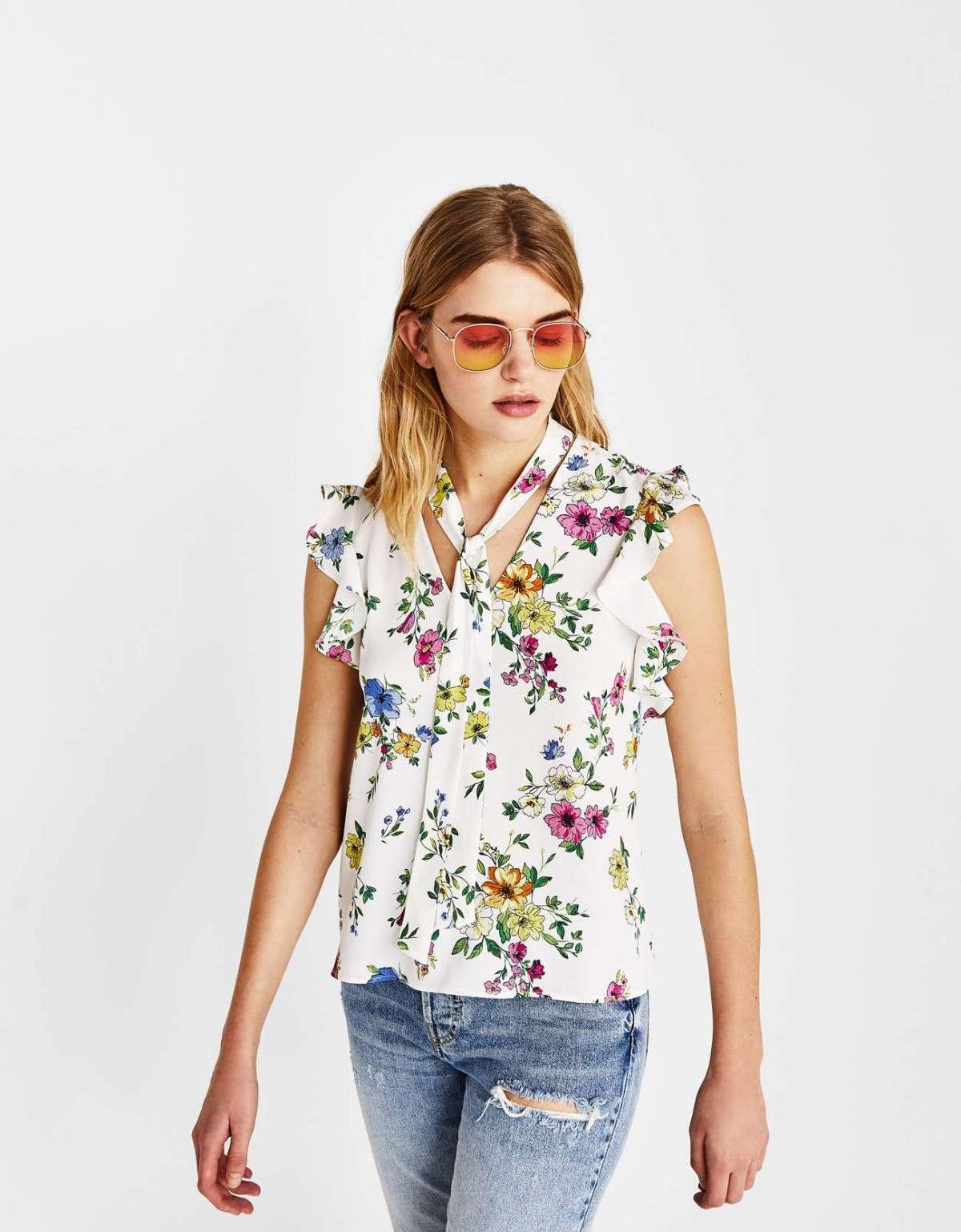 Camicia a fiori Bershka