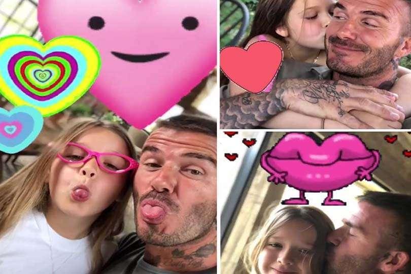 Collage di famiglia per papà Beckham e figlia