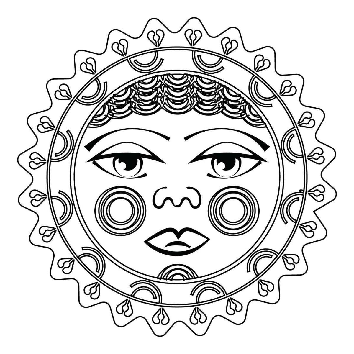 Disegno per tatuaggio sole maori con tratti umani