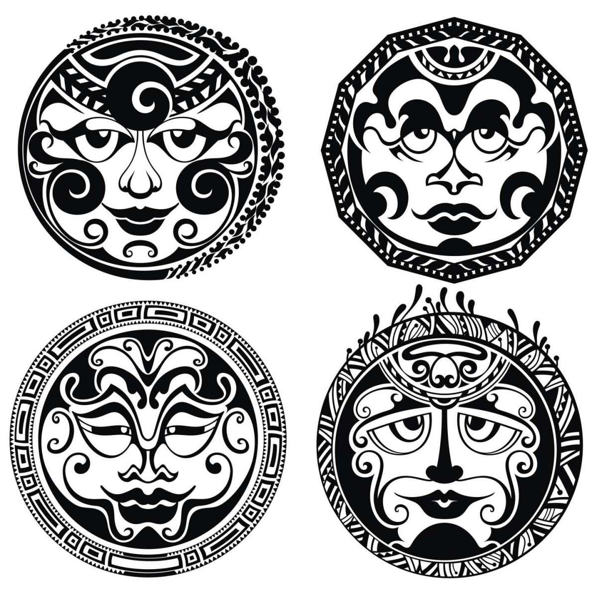Esempio di tatuaggio sole maori umanizzato