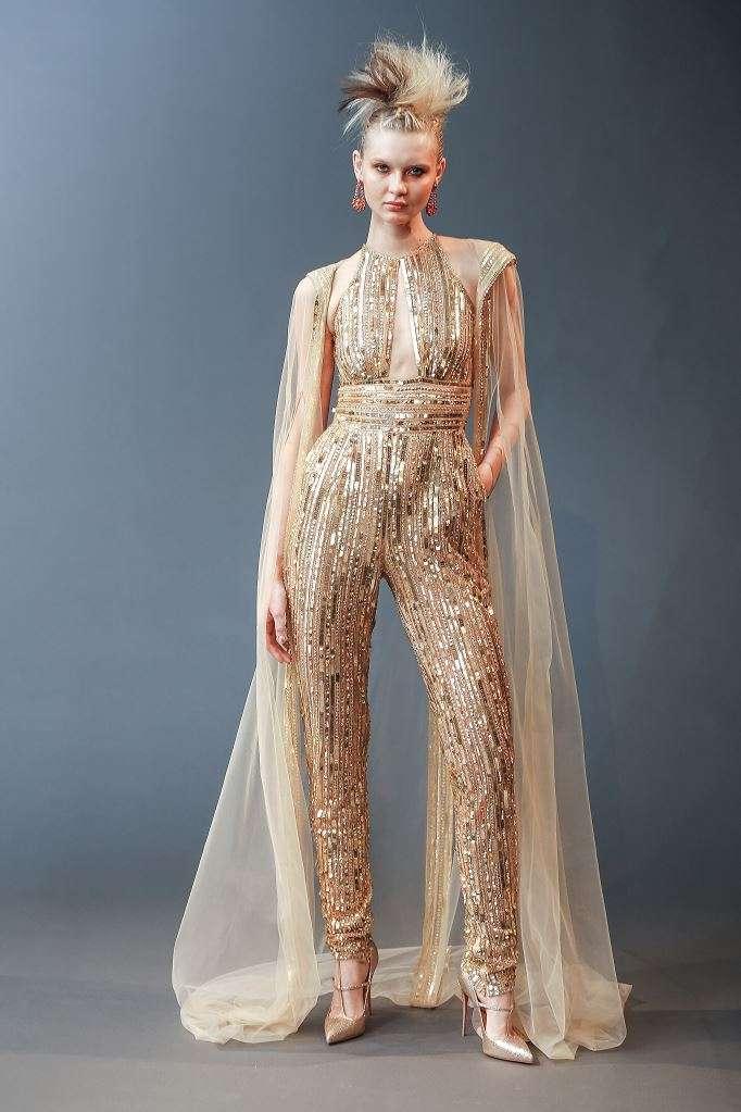 Abito da sposa oro con pantaloni Naeem Khan