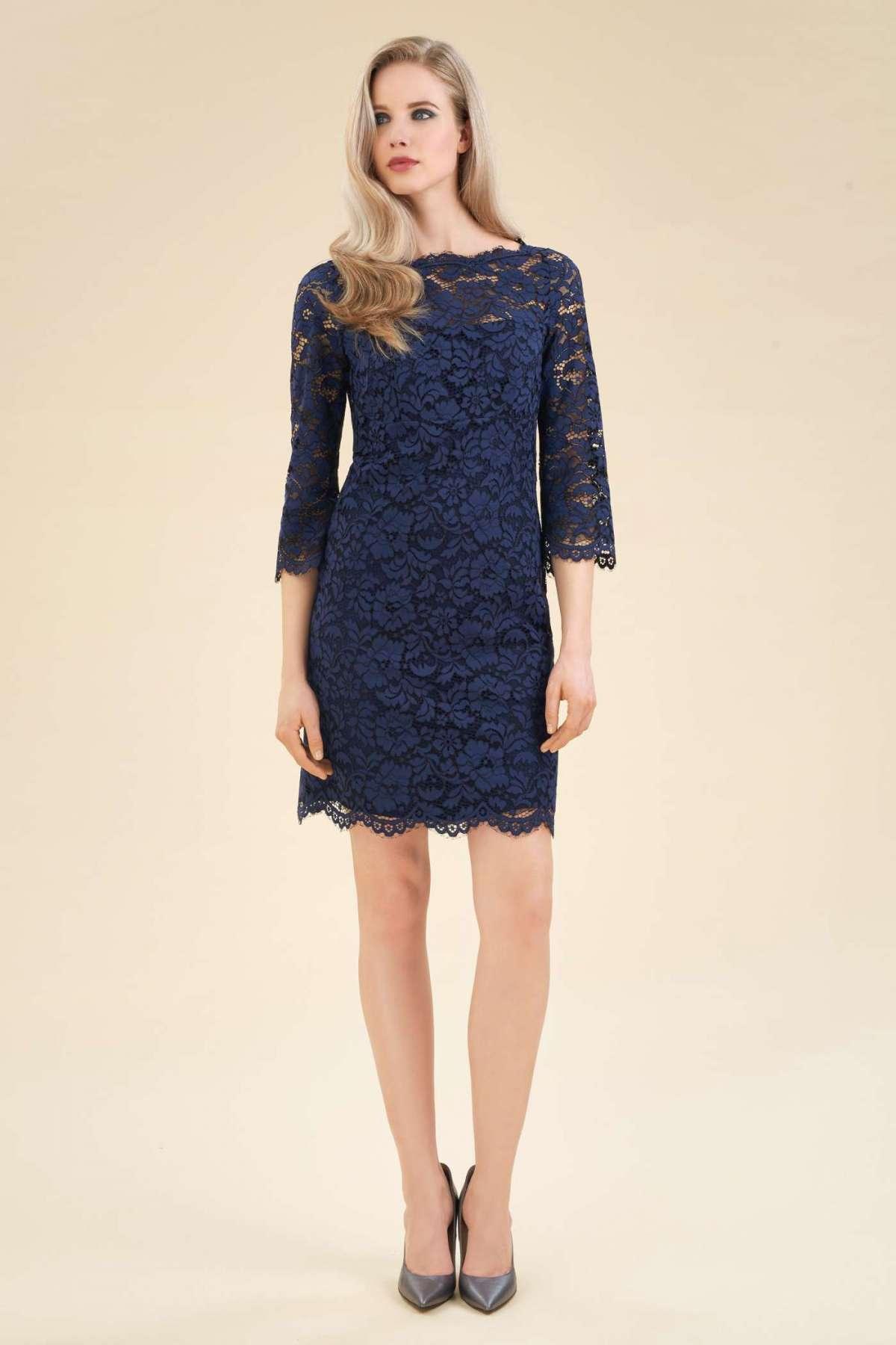 Vestito blu elegante in pizzo Luisa Spagnoli a 398 euro