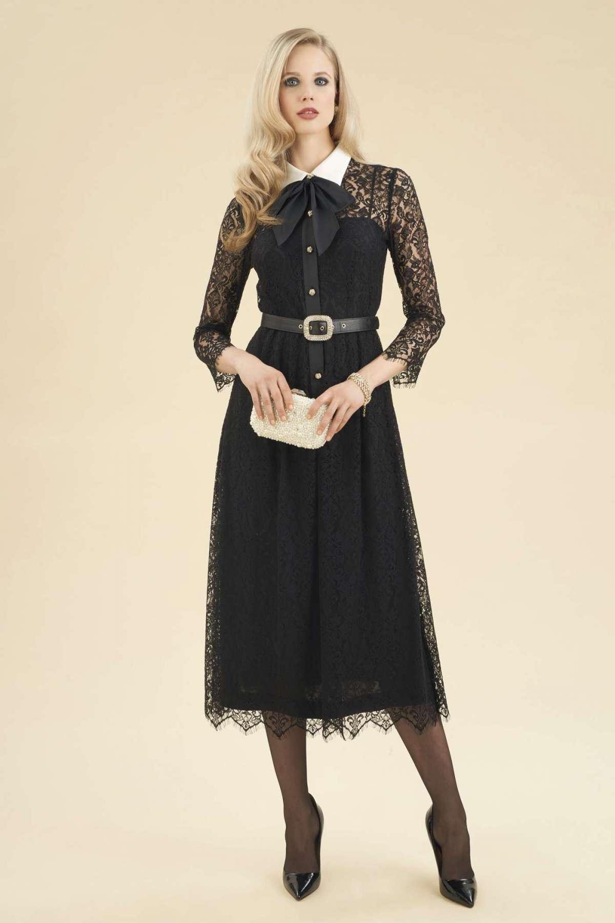 Vestito da sera nero in pizzo Luisa Spagnoli a 480 euro