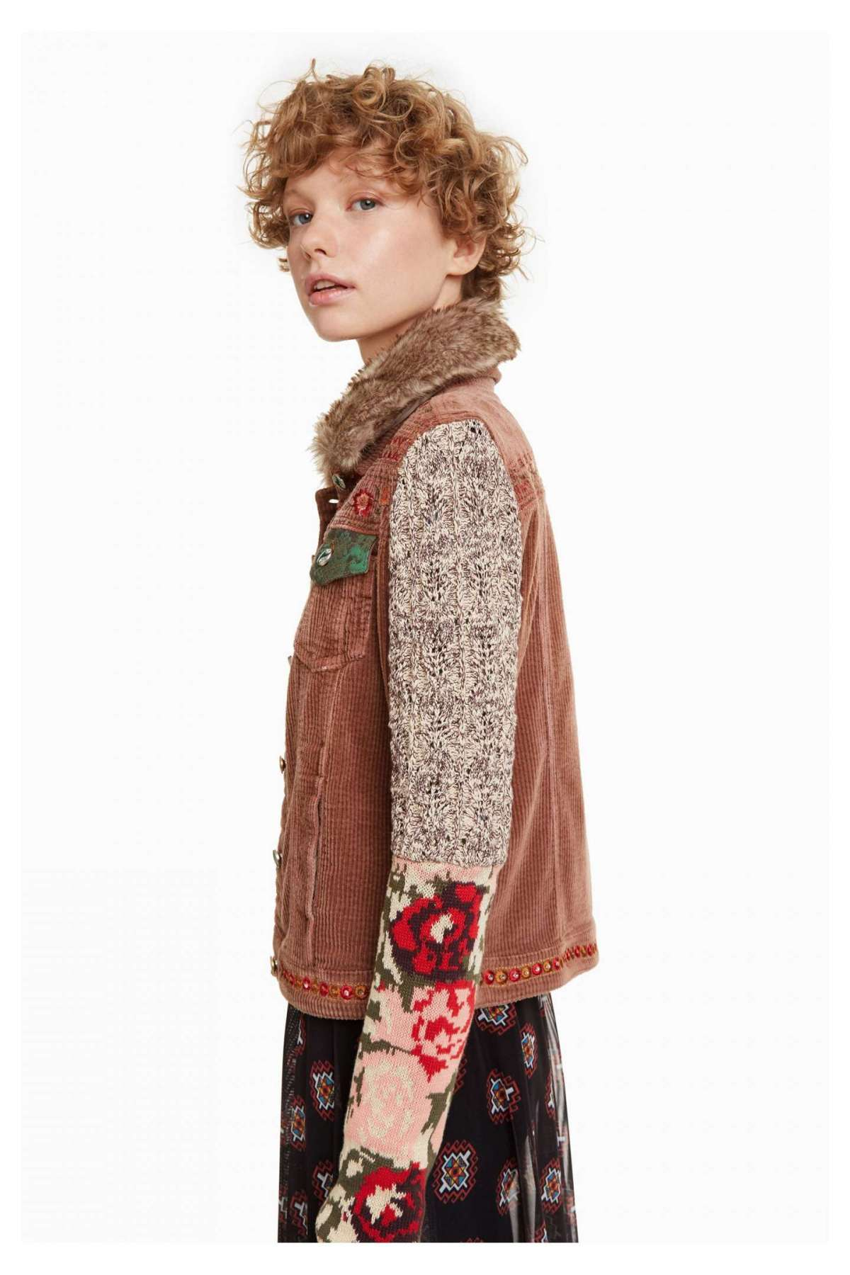 Giacca in velluto, lana e pelliccia Desigual