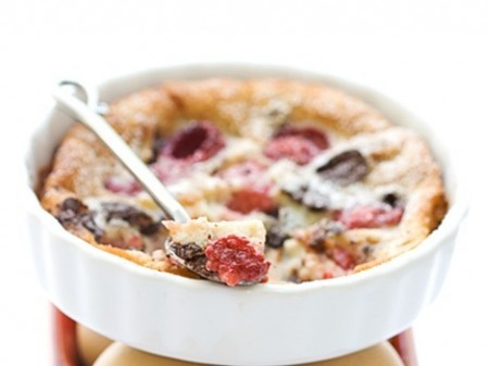 raspberry clafouti spoon