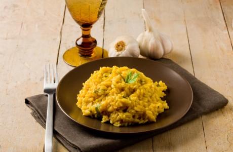 risotto milanese e salsiccia