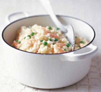 risotto con piselli e gamberetti