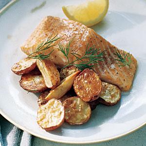 salmone e patate allo sherry