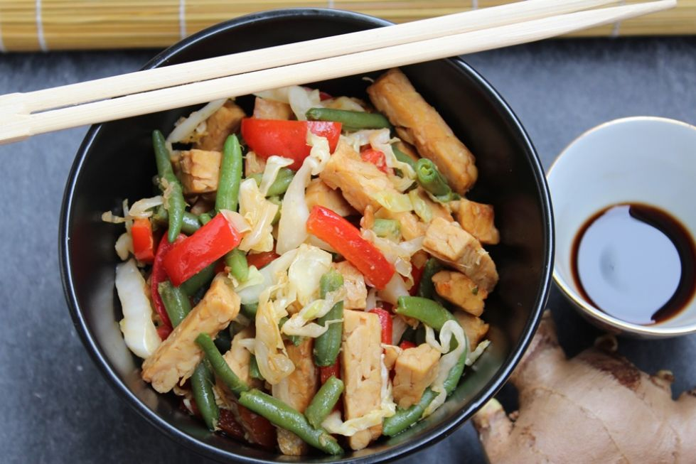 tempeh con verdure