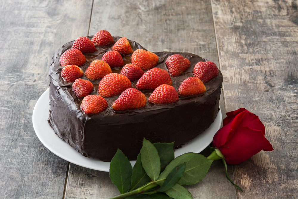 Torta per San Valentino a forma di cuore