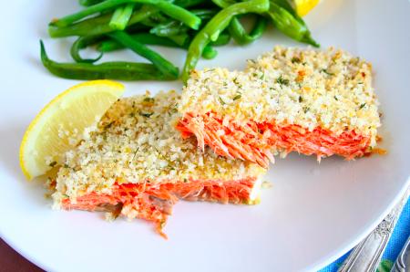 Tagliata di salmone al pepe verde